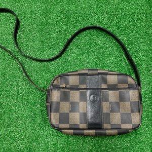Vintage Fendi Crossbody Shoulder Bag Checkerboard